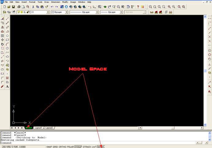 Disposición del espacio para modelar en Autocad.