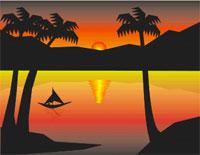 Puesta de sol en Corel Draw.