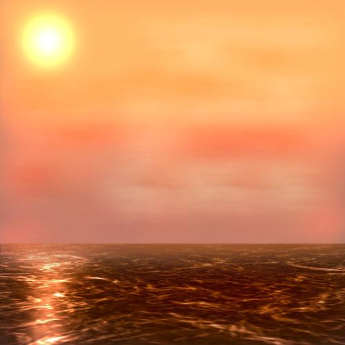 Dibuja un Atardecer en el mar con photoshop