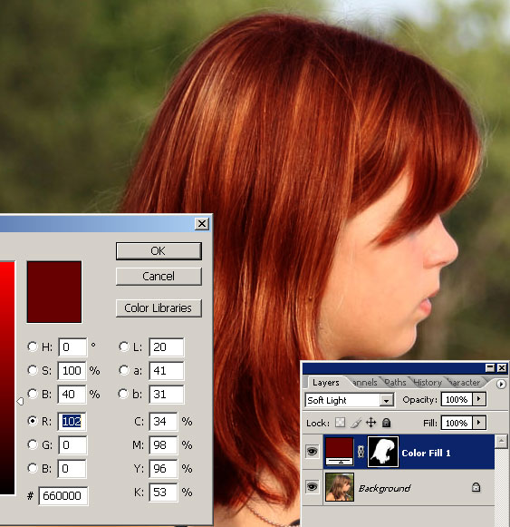 Change color hair: photoshop tutorial 06