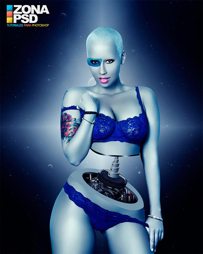 Crear Cybor Robot Femenino en Photoshop