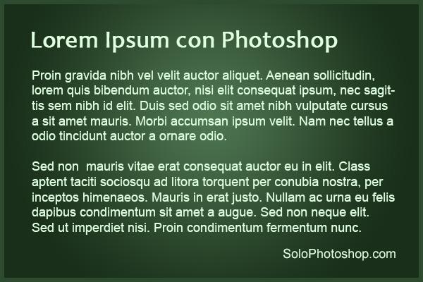 Lorem ipsum con Adobe Photoshop