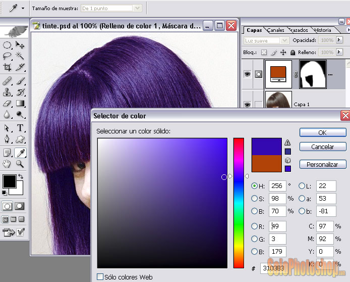 Cambiar Color Del Cabello   Solo Photoshop
