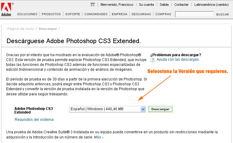 descarga gratis photoshop cs3 extended en español