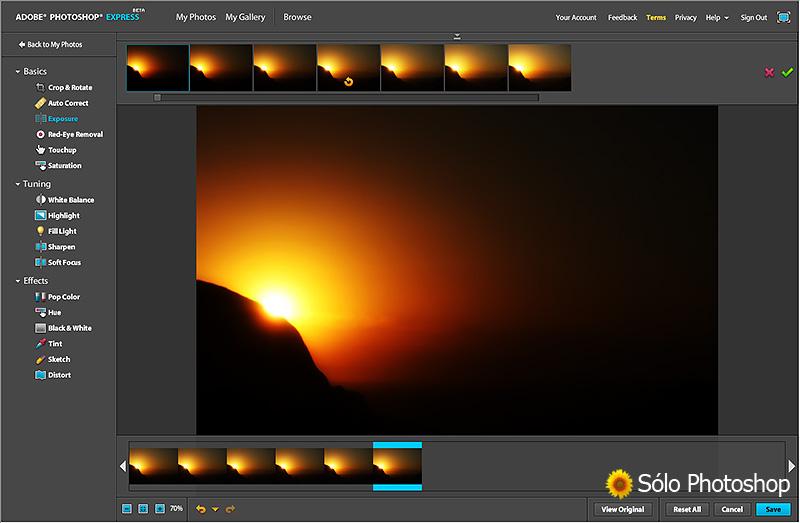 Photoshop Express: Opciones de Edición: Exposición.