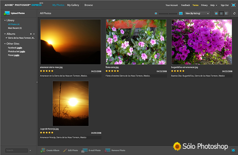Photoshop Express: Navegador de Imágenes