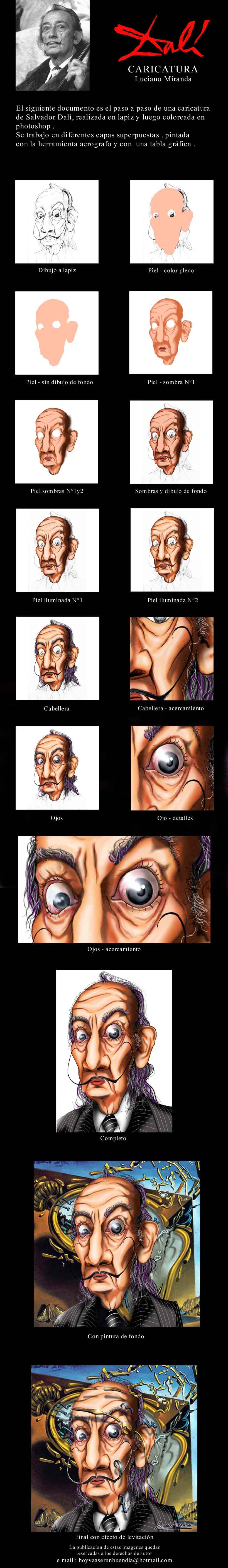 Caricatura Dalí. Liciano Miranda