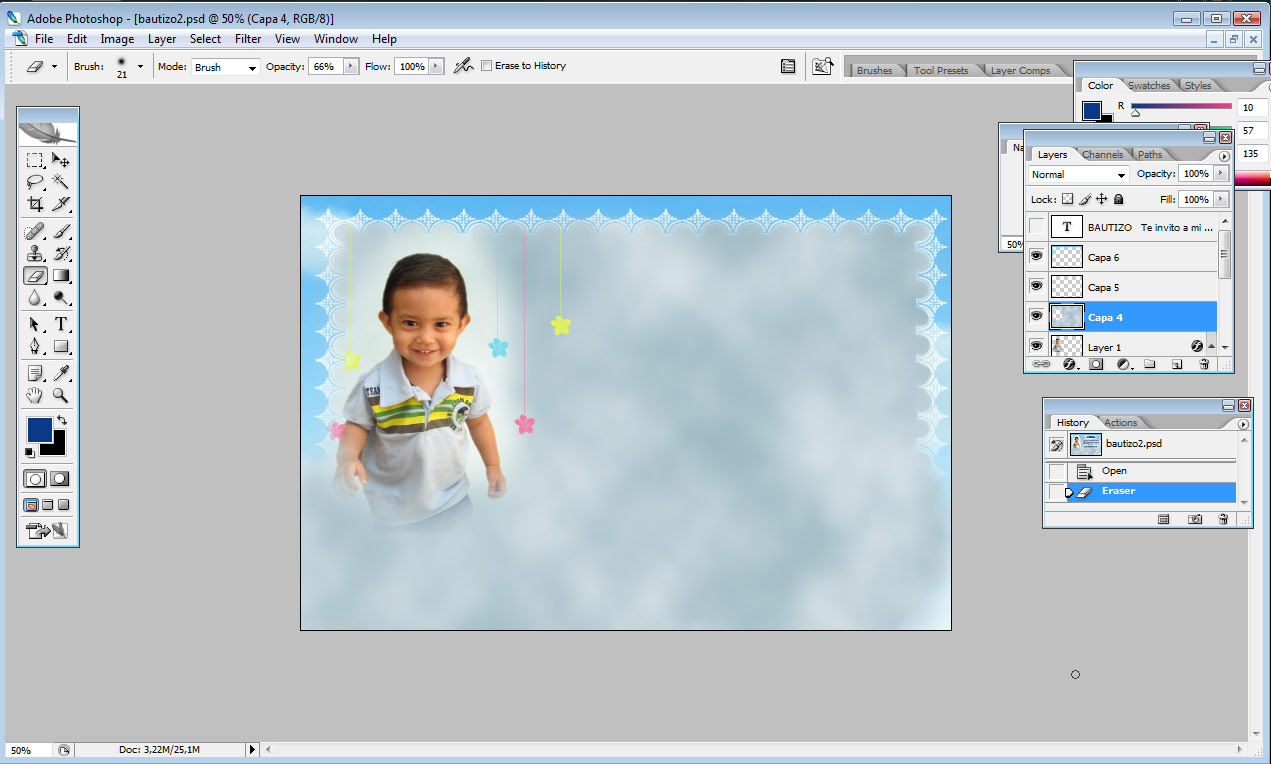Crear una tarjeta de invitación infantil con photoshop | Solo ...