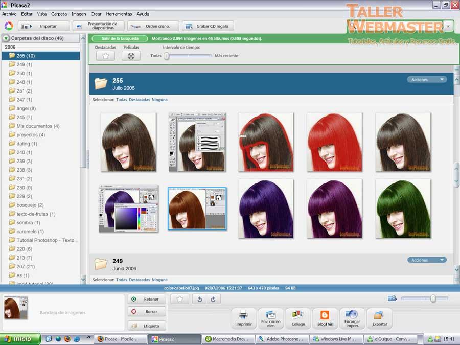 Picasa2: Organizar, buscar, corregir y hasta editar imágenes.