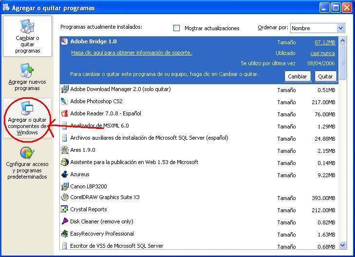 Agregar Quitar Componentes de Windows