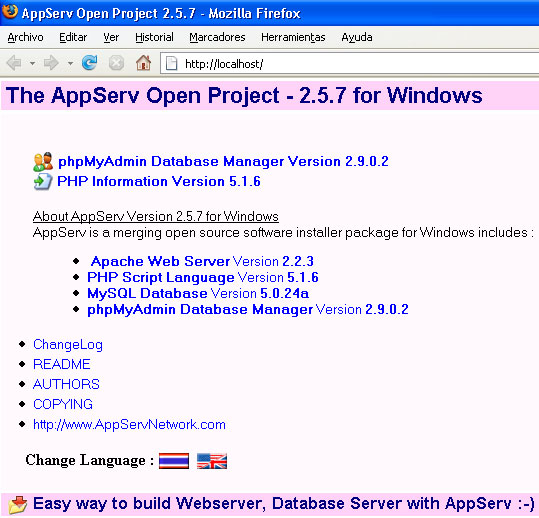 Localhost de AppServ